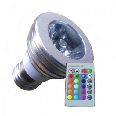 RGB E27 Power LED Strahler 3Watt mit Fernbedienung
