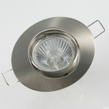 Einbaurahmen Oval eisengebürstet schwenkbar + Halogen Strahler GU10 oder MR16