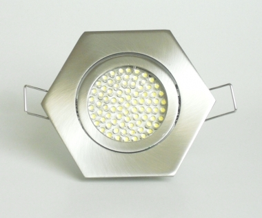 Einbaustrahler Set 60 LED GU10 + Rahmen eisengebürstet 6-eckig schwenkbar
