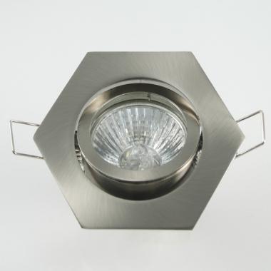 Einbaurahmen 6-eckig Bajonettverschluss + Halogen Strahler GU10 oder MR16