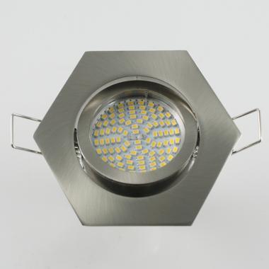 Einbaustrahler Set 90 SMD GU10 + Rahmen eisengebürstet 6-eckig schwenkbar