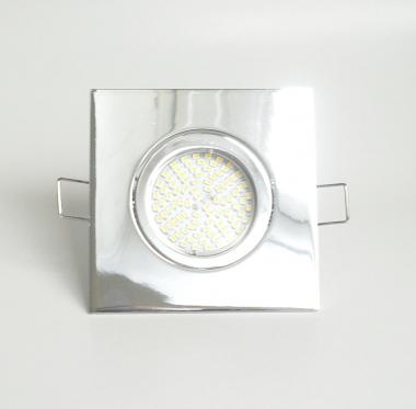 Einbaustrahler Set 70 SMD GU10 + Einbaurahmen 4-eckig chrom schwenkbar