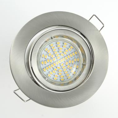 LED Einbaustrahler Set 70 SMD GU10 + Einbaurahmen Alu gebürstet Rund schwenkbar