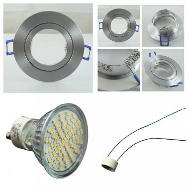 LED Einbaustrahler Einbauleuchten Spot Set Gold Messing 70SMD GU10 3W 230V A++