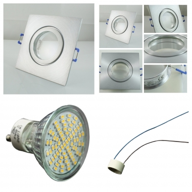 LED Einbaustrahler Feuchtraum 70 SMD GU10 + Einbaurahmen IP44 Alu Viereckig Klickverschluss