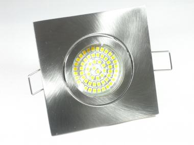 Einbaustrahler Set 60 SMD GU10 + Einbaurahmen 4-eckig eisengebürstet schwenkbar