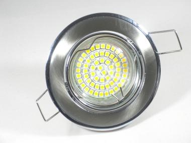 Einbaustrahler Set 60 SMD GU10 + Einbaurahmen Chrom-Eisengebürstet schwenkbar