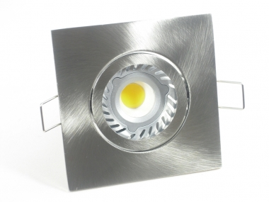 Einbaustrahler Set 1x4W GU10 + Einbaurahmen 4-eckig eisengebürstet schwenkbar