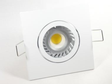 Einbaustrahler Set 1x4W GU10 + Einbaurahmen 4-eckig weiß schwenkbar