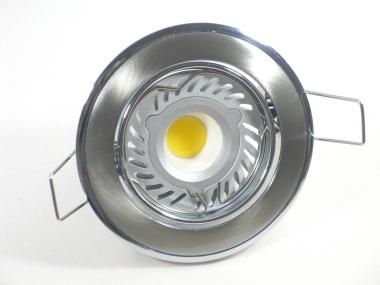 Einbaustrahler Set 1x4W GU10 + Einbaurahmen Chrom-Eisengebürstet schwenkbar