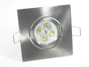 Einbaustrahler Set 4x1W GU10 dimmbar + Einbaurahmen 4-eckig eisengebürstet schwenkbar
