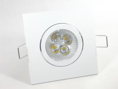 Einbaustrahler Set 4x1W GU10 dimmbar + Einbaurahmen 4-eckig weiß schwenkbar