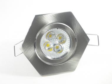 Einbaustrahler Set 4x1W GU10 dimmbar + Einbaurahmen eisengebürstet 6-eckig schwenkbar