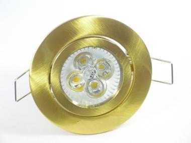 Einbaustrahler Set 4x1W GU10 dimmbar + Einbaurahmen Messing/Gold Rund schwenkbar