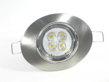 Einbaustrahler Set 4x1W GU10 dimmbar + Einbaurahmen Oval eisengebürstet schwenkbar