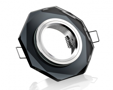 Einbaustrahler schwarz Kristallglas 8-eckig Schnellspannkopf
