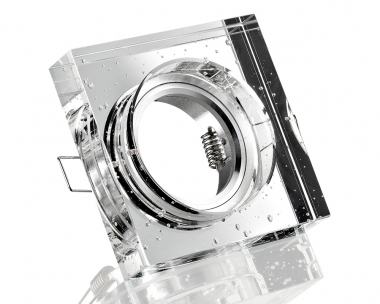 Kristall-Einbaustrahler 4-eckig viereckig Blubber klar für GU10 u. MR16