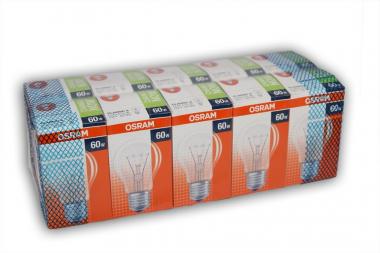 10er Set OSRAM Glühlampe Glühbirne E27 60W Klar