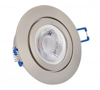IP44 GU10 LED Feuchtraum Einbaustrahler Set 5W gebürstet rund 230V