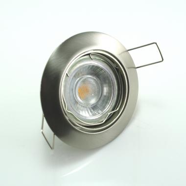 LED Einbaustrahler 5W 9 SMD GU10 + Rahmen eisengebürstet Rund schwenkbar