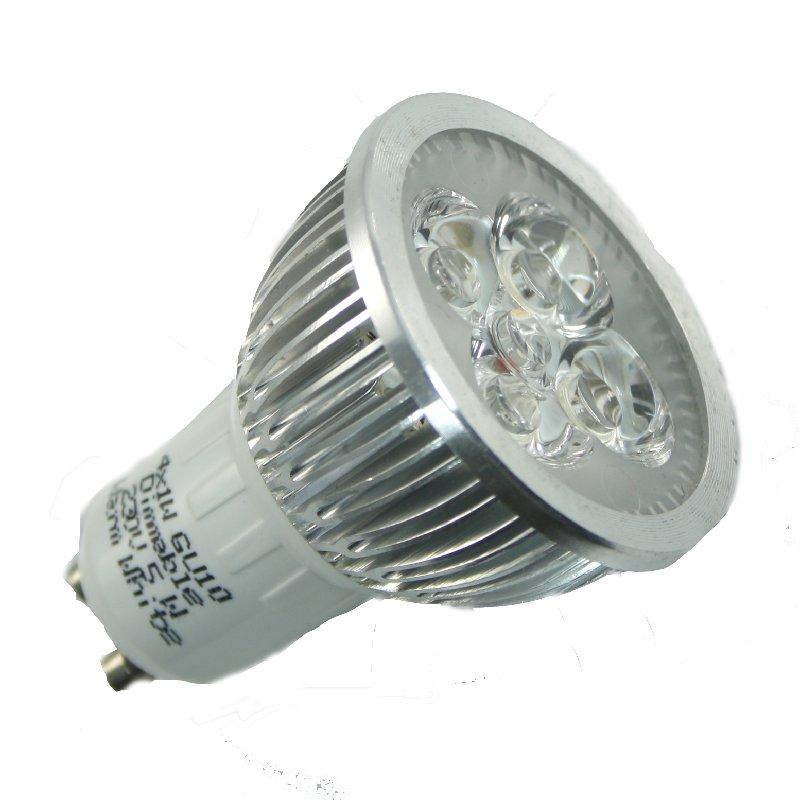 4x1W GU10 Power LED Strahler 230V Dimmbar warmweiß