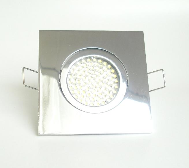 Einbaustrahler Set 60 LED GU10 + Einbaurahmen 4-eckig chrom