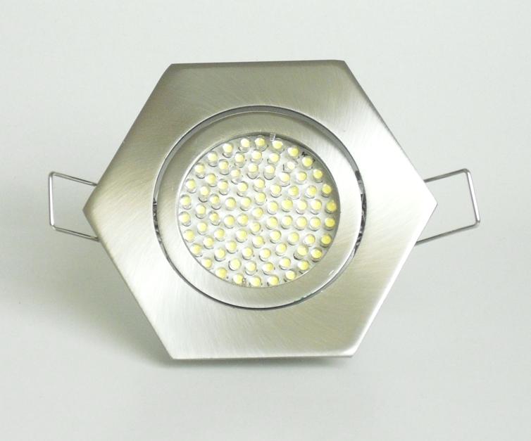 Einbaustrahler Set 60 LED GU10 + Rahmen eisengebürstet 6-eckig