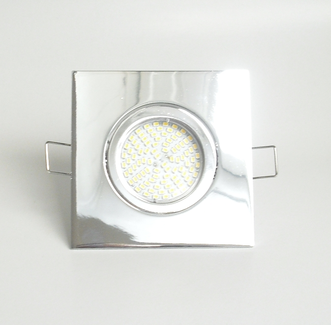 Einbaustrahler Set 90 SMD GU10 + Einbaurahmen 4-eckig chrom