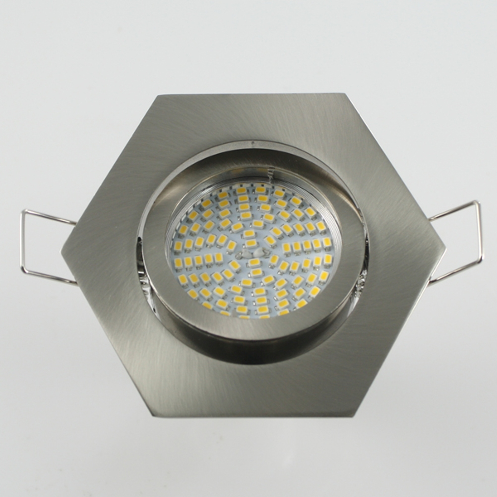 Einbaustrahler Set 90 SMD GU10 + Rahmen eisengebürstet 6-eckig