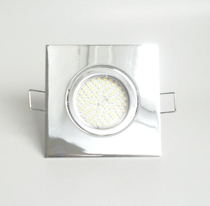 Einbaustrahler Set 70 SMD GU10 + Einbaurahmen 4-eckig chrom