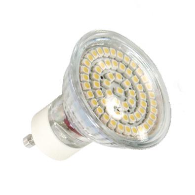 60 SMD GU10 Lampe Strahler Warmweiß mit Schutzglas 3W