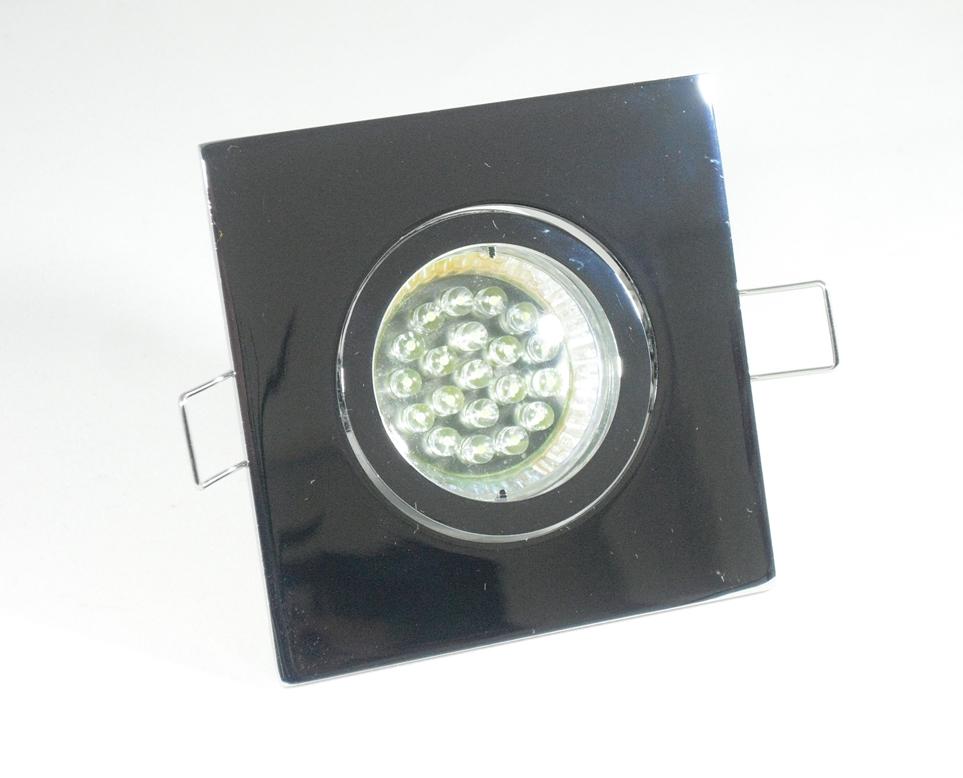 Einbaustrahler Set 20 LED GU10 + Einbaurahmen 4-eckig chrom