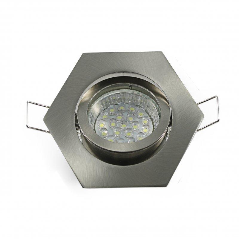 Einbaustrahler Set 20 LED GU10 + Einbaurahmen eisengeb. 6-eckig