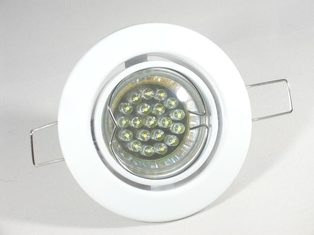 Einbaustrahler Set 20 LED GU10 + Einbaurahmen Weiß Rund Klammer