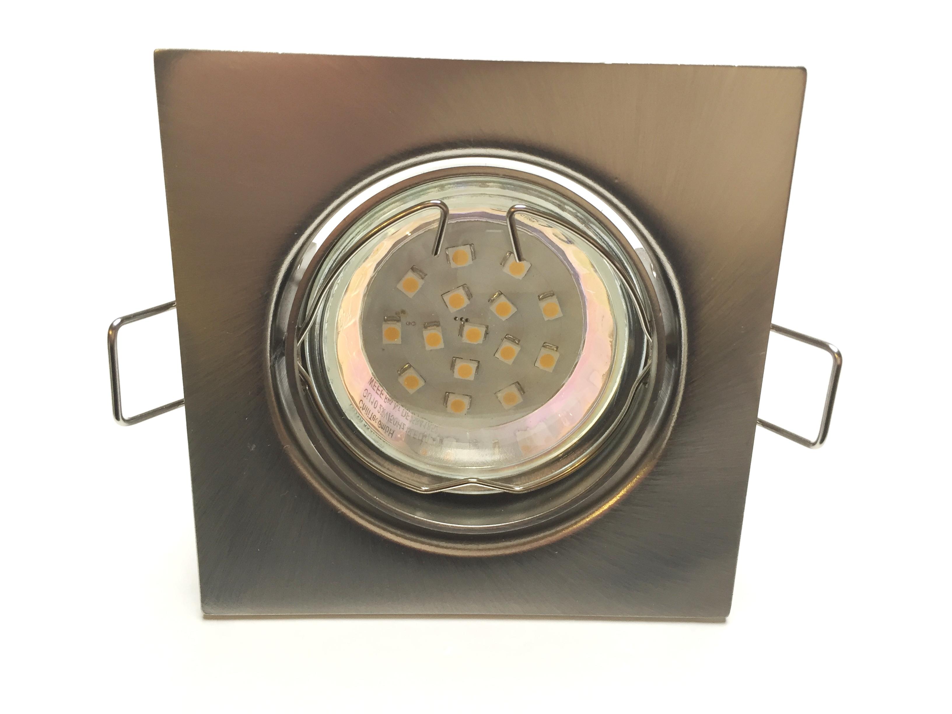 Metall Einbaustrahler Set 15 SMD GU10 Eisengebürstet schwenkbar