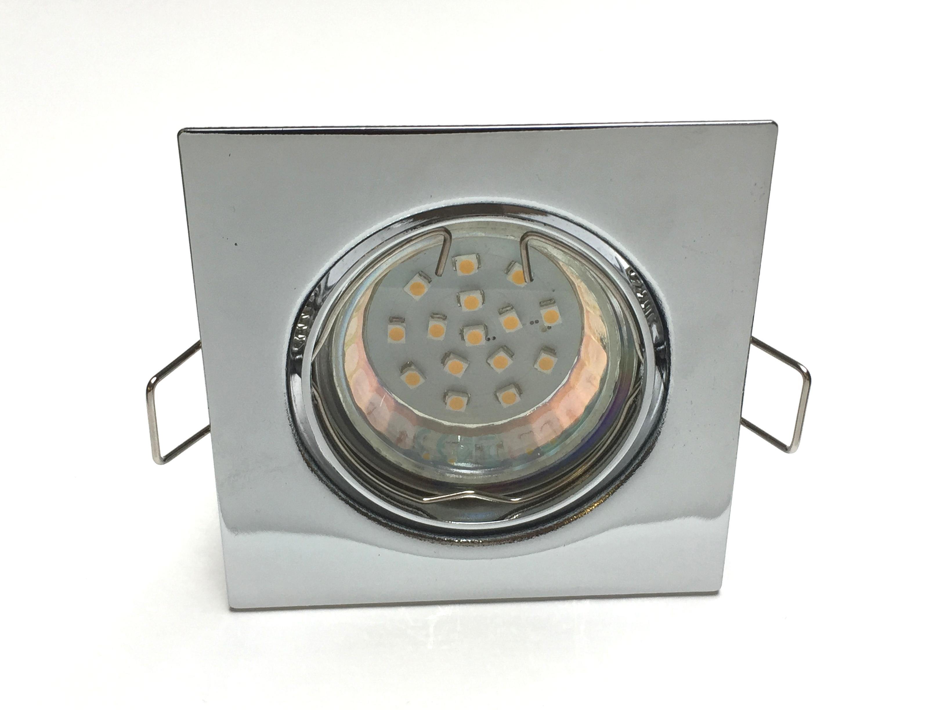Metall Einbaustrahler Set 15 SMD GU10 Chrom viereckig schwenkbar