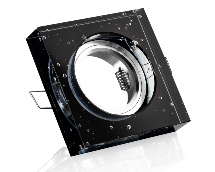 kristall einbaustrahler 4 eckig viereckig schwarz blubber. Black Bedroom Furniture Sets. Home Design Ideas