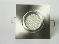 Einbaustrahler Set 60 LED GU10 + Einbaurahmen 4-eckig eisengebürstet schwenkbar