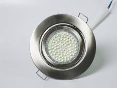 Einbaustrahler Set 60 LED GU10 + Einbaurahmen Alu gebürstet Rund schwenkbar