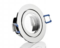 Feuchtraum ALU Einbaustrahler Chrom mit Klickverschluss IP44