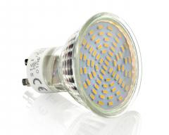 70 SMD Strahler GU10 mit Schutzglas 300 Lumen kaltweiß