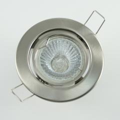 Einbaurahmen eisengebürstet Rund schwenkbar + Halogen Strahler GU10 oder MR16