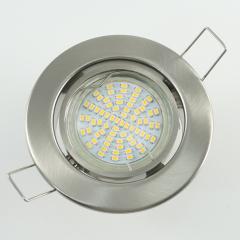 Einbaustrahler Set 70 SMD GU10 + Metall Einbauspot eisengebürstet Rund schwenkbar
