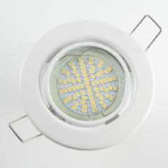 Einbaustrahler Set 70 SMD GU10 + Metall Einbauspot Weiß Rund schwenkbar
