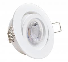 LED Einbaustrahler 5W 9 SMD GU10 + Einbaurahmen weiß Rund schwenkbar