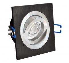 LED Einbaustrahler 5W 9 SMD GU10 + Einbaurahmen Alu Eckig Bicolor schwarz schwenkbar