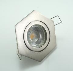LED Einbaustrahler 5W 9 SMD GU10 + Rahmen eisengebürstet 6-eckig schwenkbar