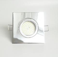 Einbaustrahler Set 90 SMD GU10 + Einbaurahmen 4-eckig chrom schwenkbar