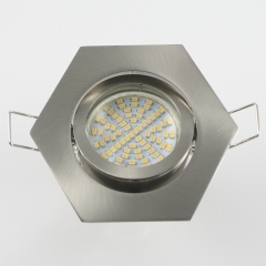 Einbaustrahler Set 70 SMD GU10 + Einbaurahmen eisengebürstet 6-eckig schwenkbar