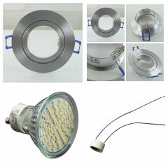 LED Einbaustrahler Feuchtraum 70 SMD GU10 + Einbaurahmen IP44 Alu Rund Klickverschluss